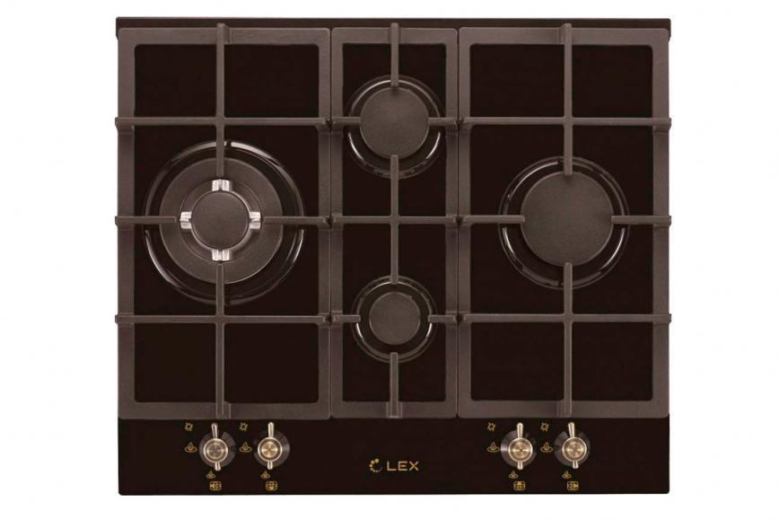 LEX GVG 643C BL газовая варочная поверхность (черн.стекло)